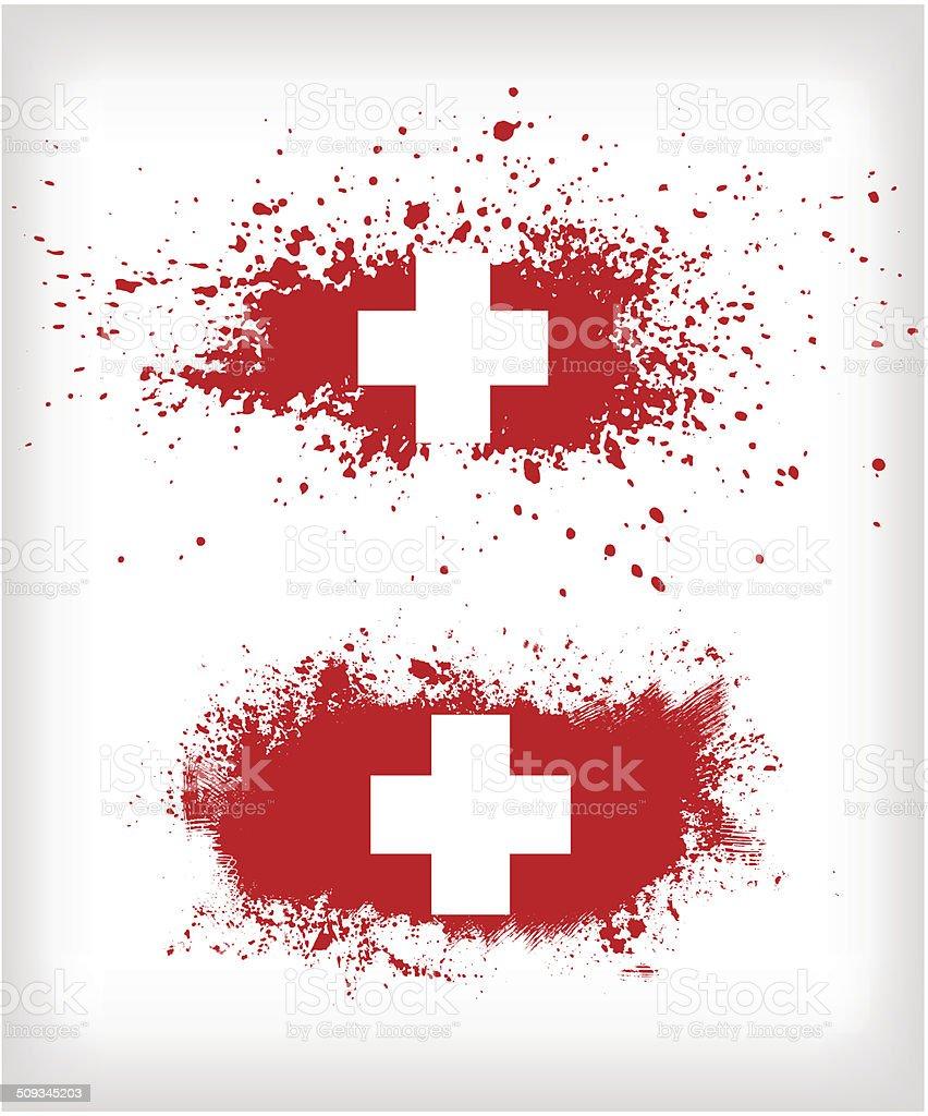 Grunge ink splattered flag of Switzerland vectors vector art illustration