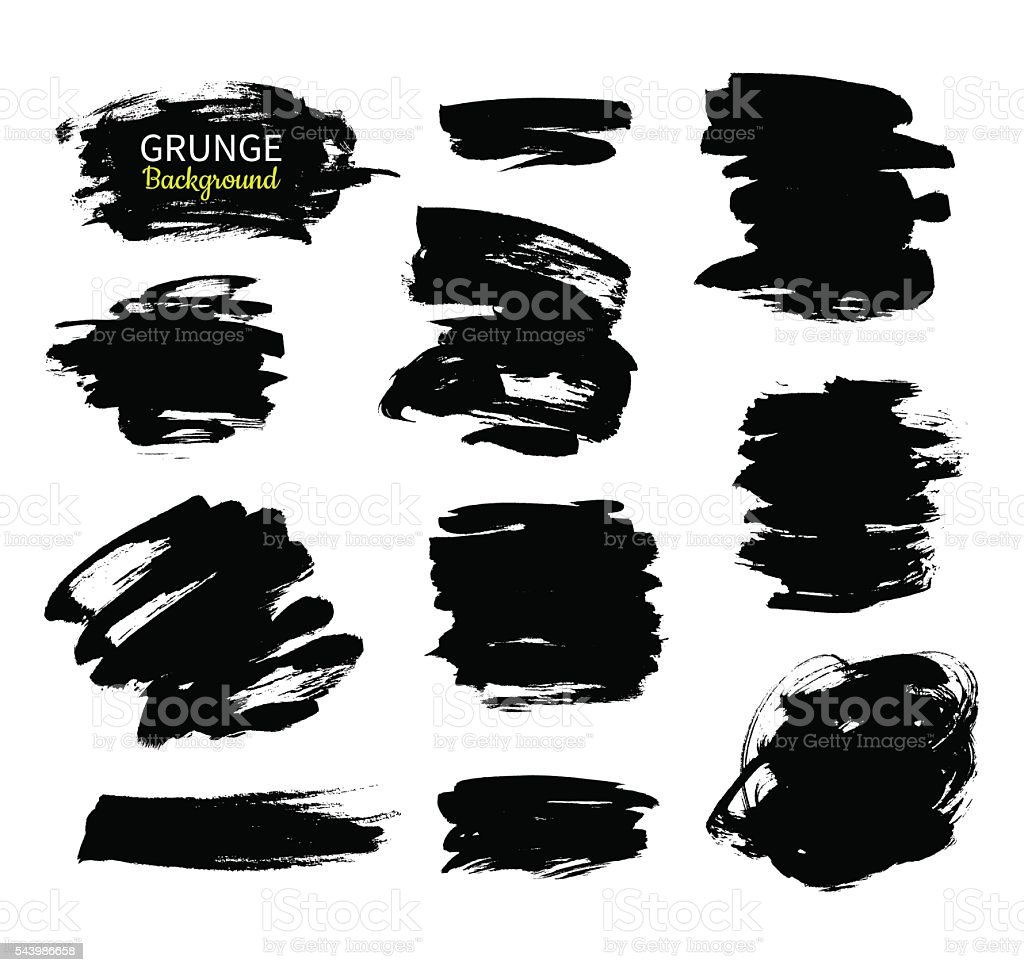 Grunge ink vector background set. Abstract freehand strokes. vector art illustration