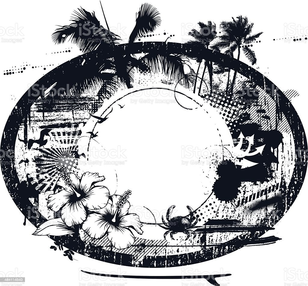 grunge inky surf black circle with summer elements vector art illustration