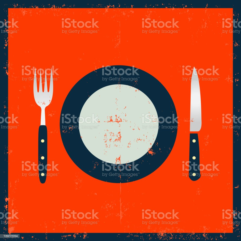 Grunge Kitchenware - Fork, Knife And Plate royalty-free stock vector art