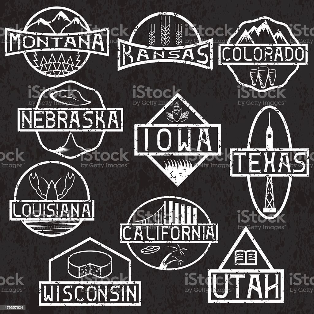 grunge labels of states and landmarks of usa vector art illustration