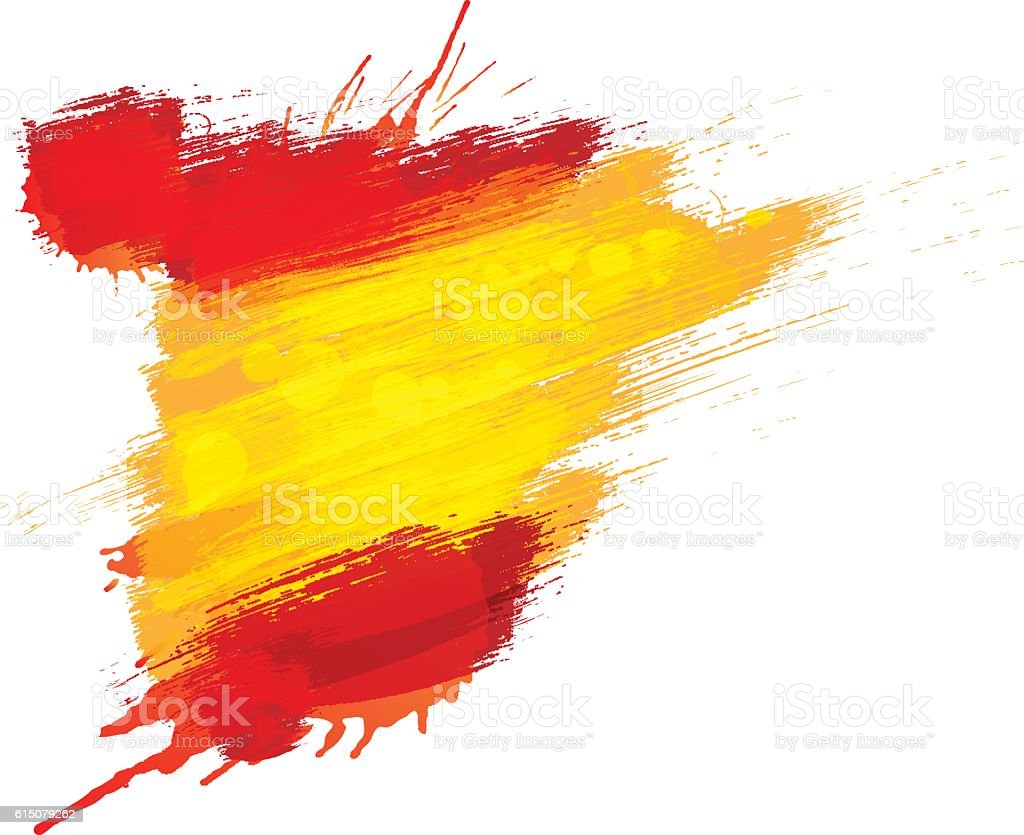 Grunge map of Spain with Spanish flag vector art illustration