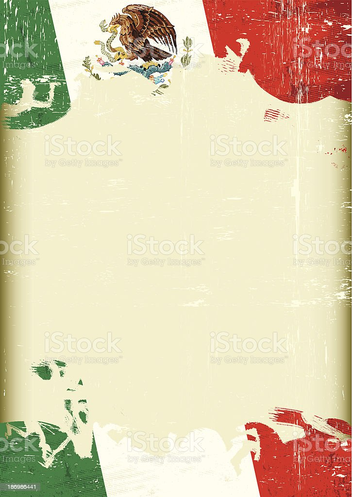 Grunge Mexican flag royalty-free stock vector art