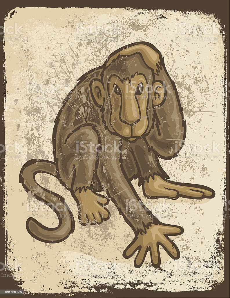 Grunge Monkey royalty-free stock vector art