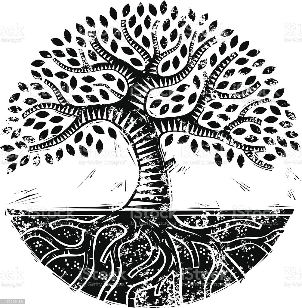 Grunge mono woodcut tree royalty-free stock vector art