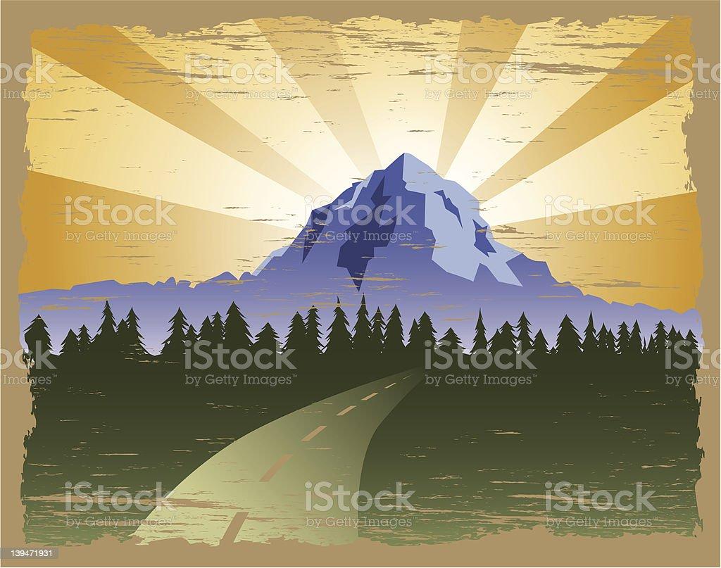 Grunge Mountain royalty-free stock vector art