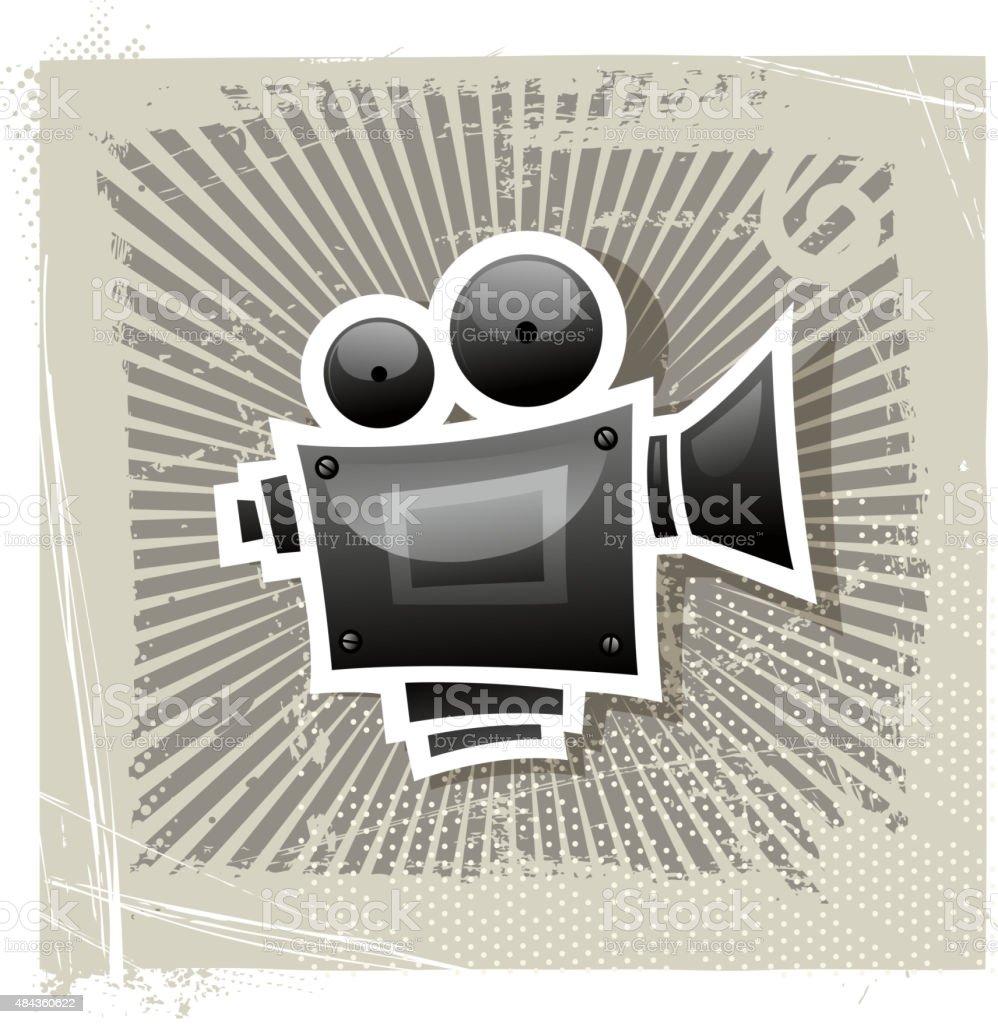 grunge movie camera vector art illustration