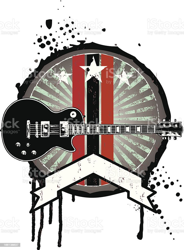 grunge music shield with guitar and banner royalty-free stock vector art