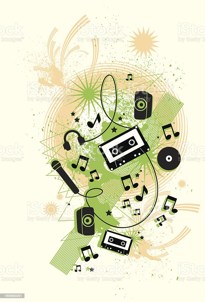 Grunge music (with copyspace) royalty-free stock vector art