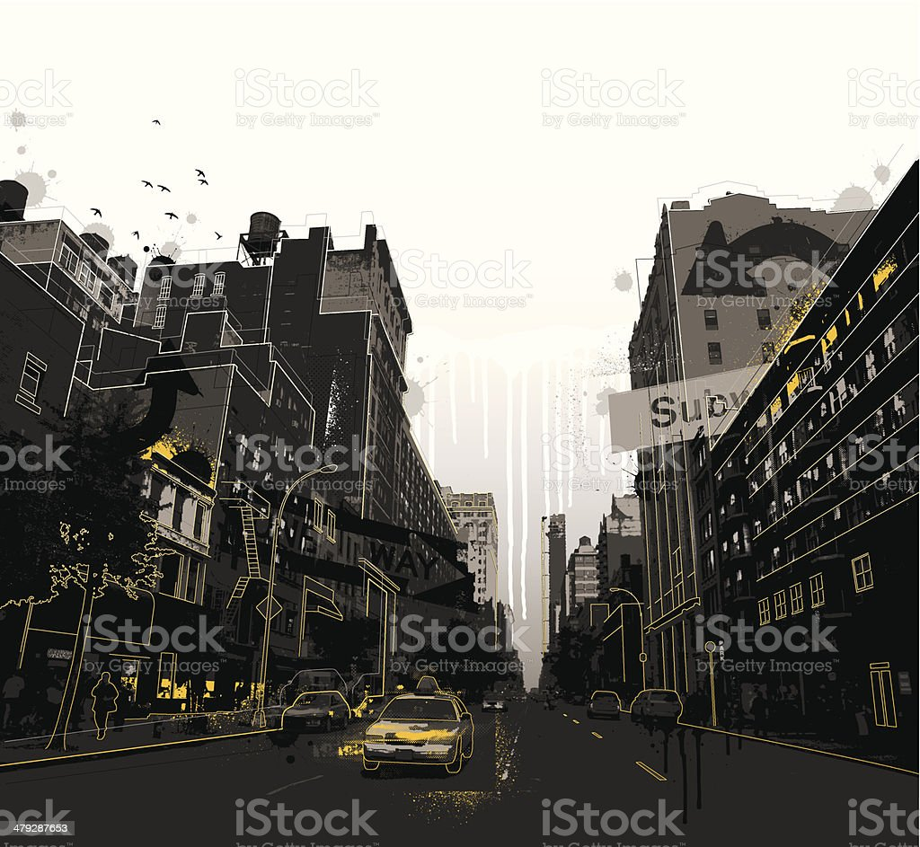 Grunge New York City scene vector art illustration