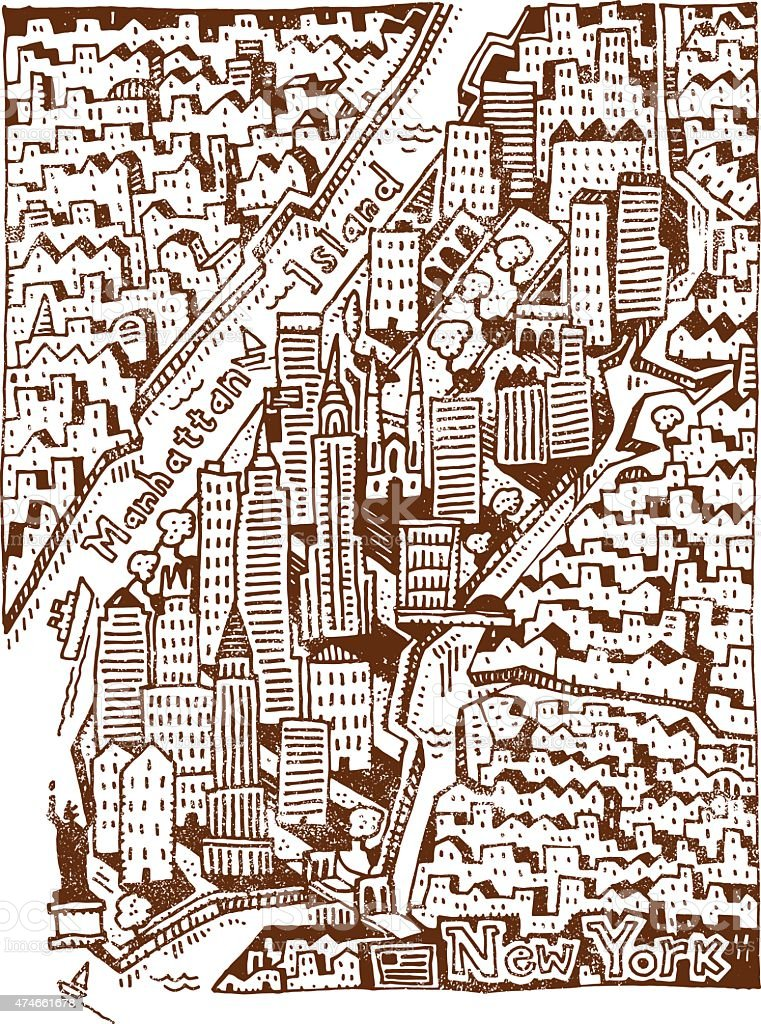 Grunge New York drawing vector art illustration
