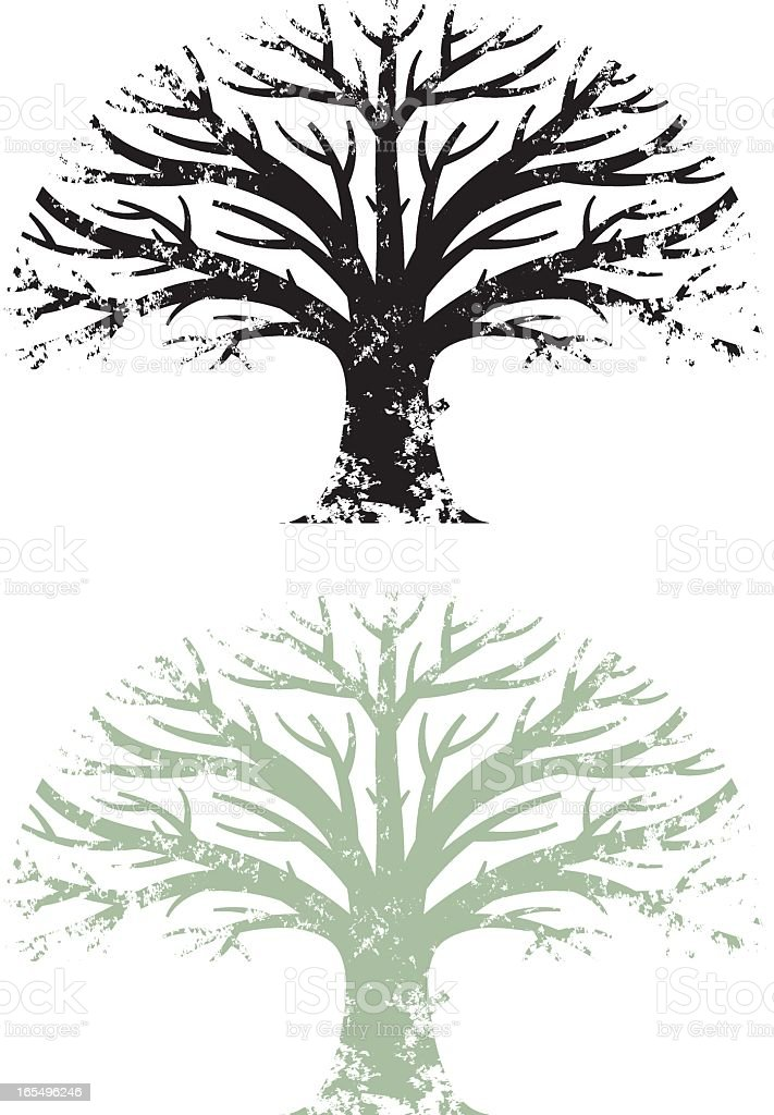 Grunge oak tree with silhouette vector art illustration