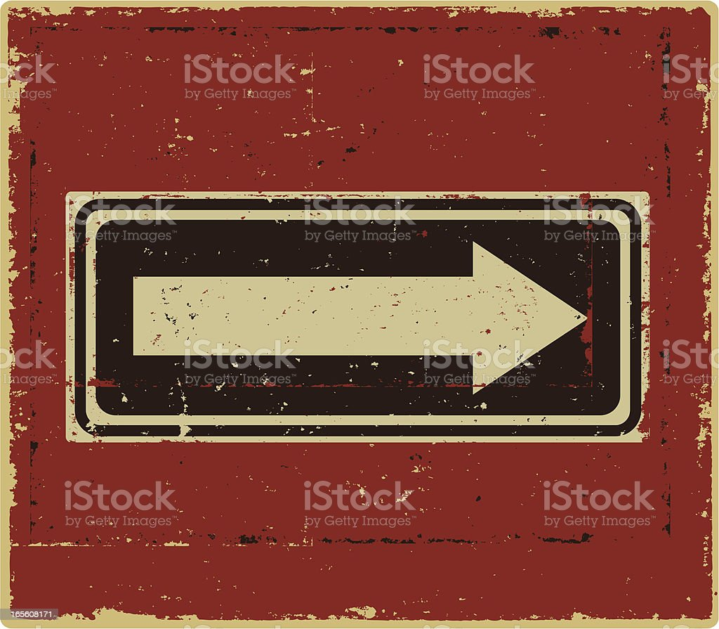 Grunge One Way Sign royalty-free stock vector art