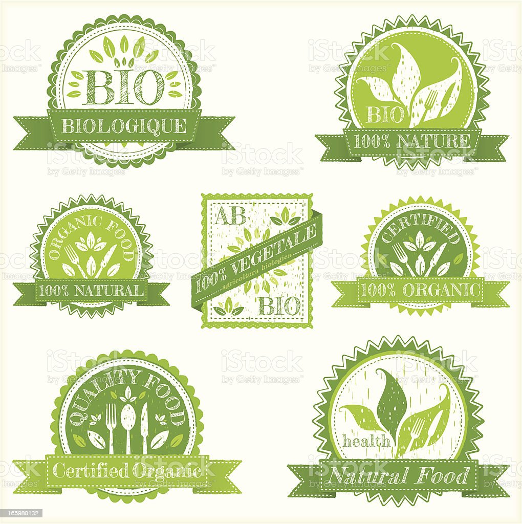 Grunge organic labels vector art illustration