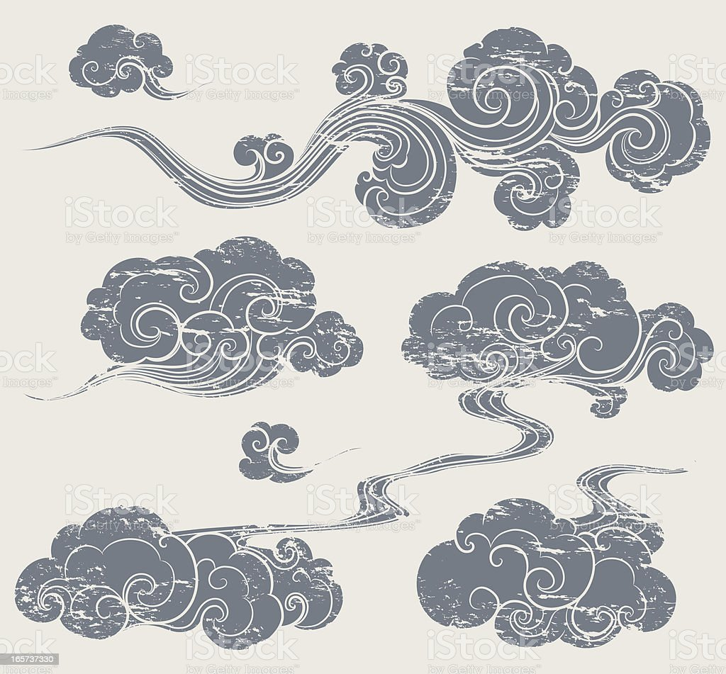 grunge oriental cloud vector art illustration