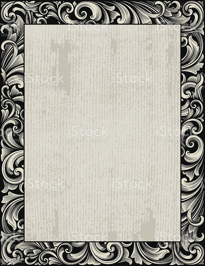 Grunge Ornate Scroll Frame royalty-free stock vector art