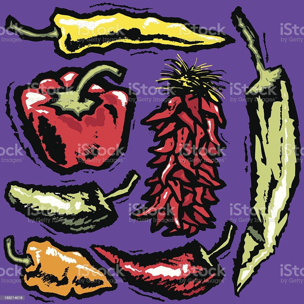 Grunge Pepper Medley royalty-free stock vector art