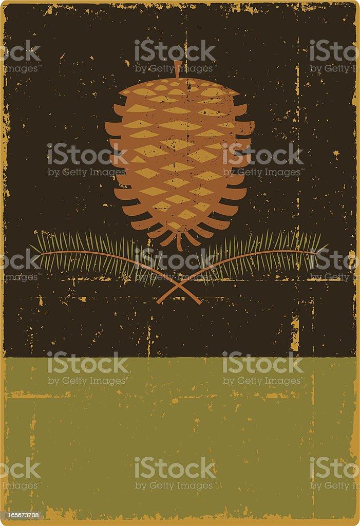 Grunge Pine Cone Sign vector art illustration