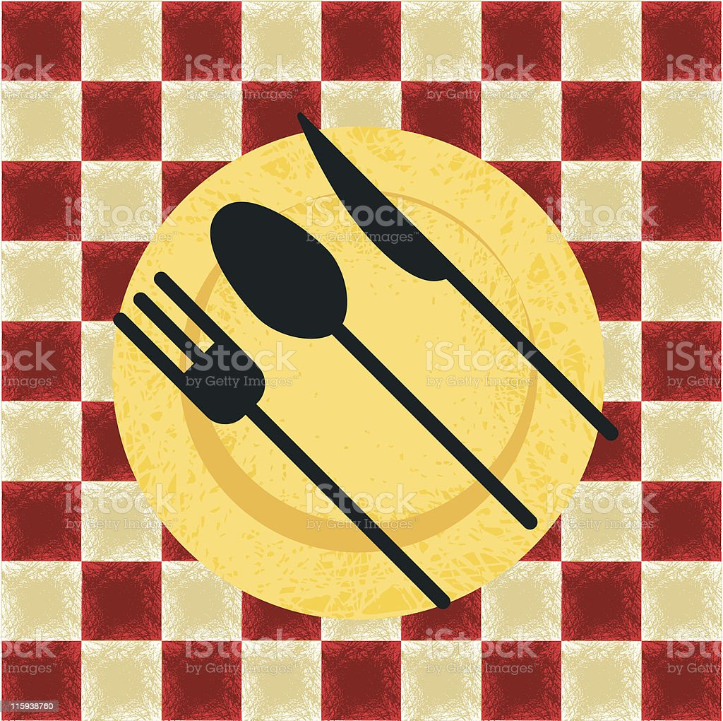 Grunge Plate & Tablecloth royalty-free stock vector art