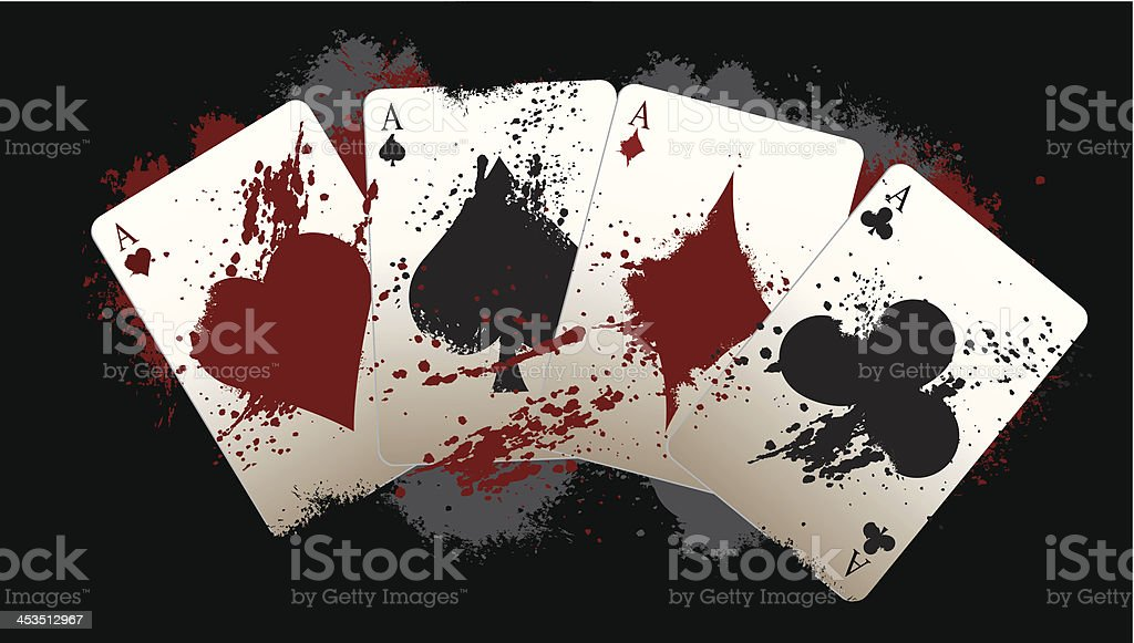 Grunge Poker Aces royalty-free stock vector art
