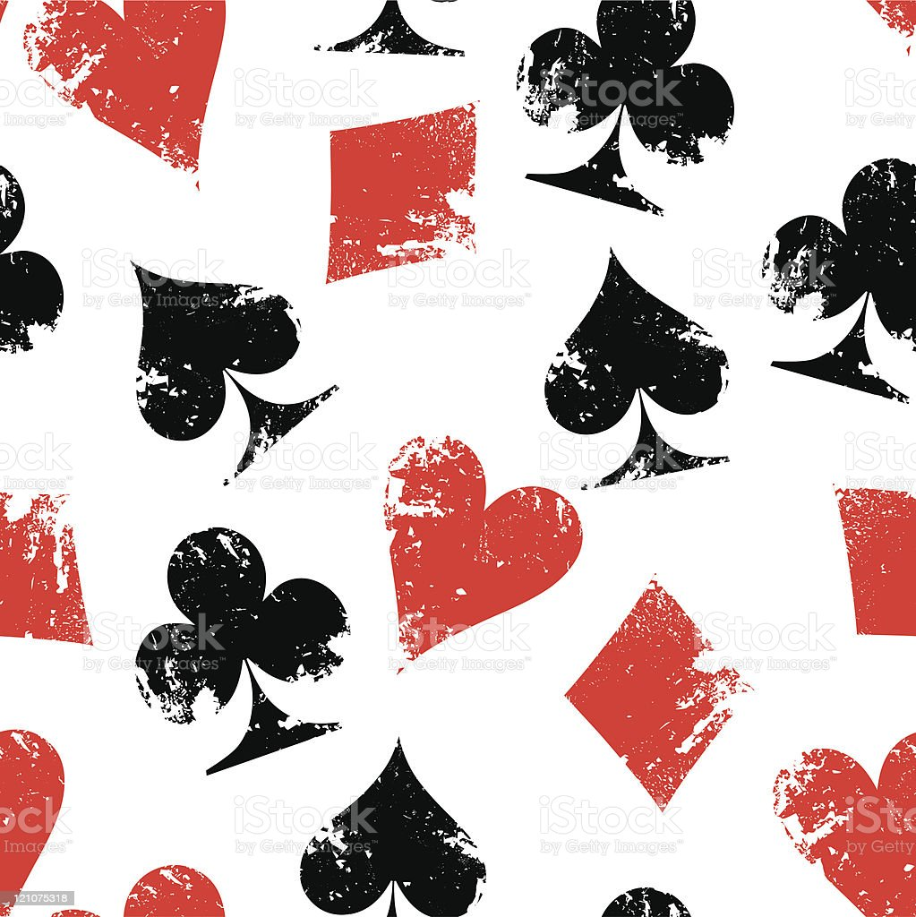 Grunge poker signs, seamless pattern royalty-free stock vector art