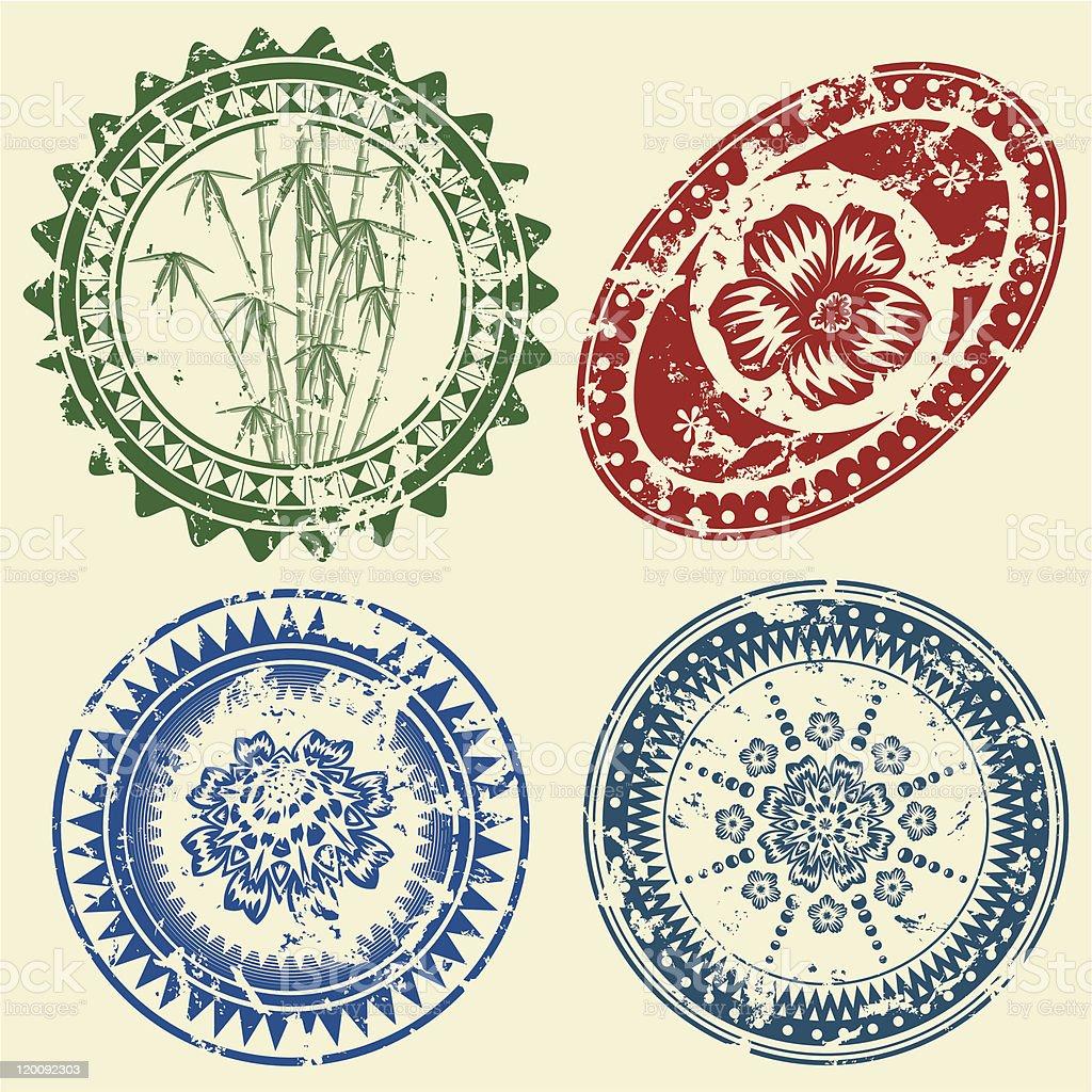Grunge postcard stamp set royalty-free stock vector art