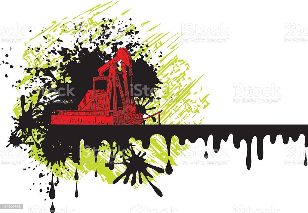 Grunge Pump Jack Border royalty-free stock vector art