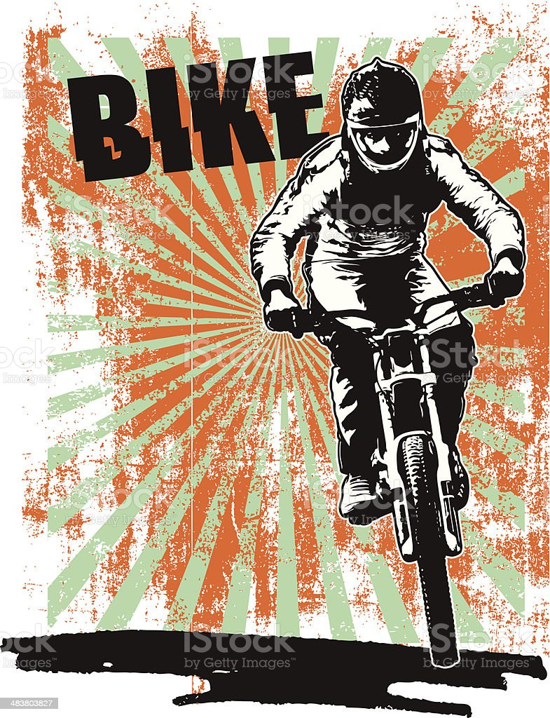 grunge racing poster with bike and rider vector art illustration