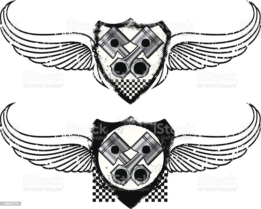 grunge racing shield with pistons and wings vector art illustration