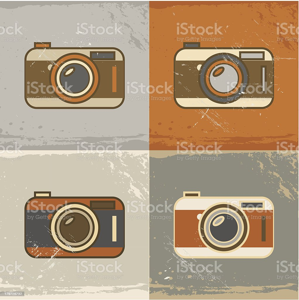 Grunge retro camera icons royalty-free stock vector art