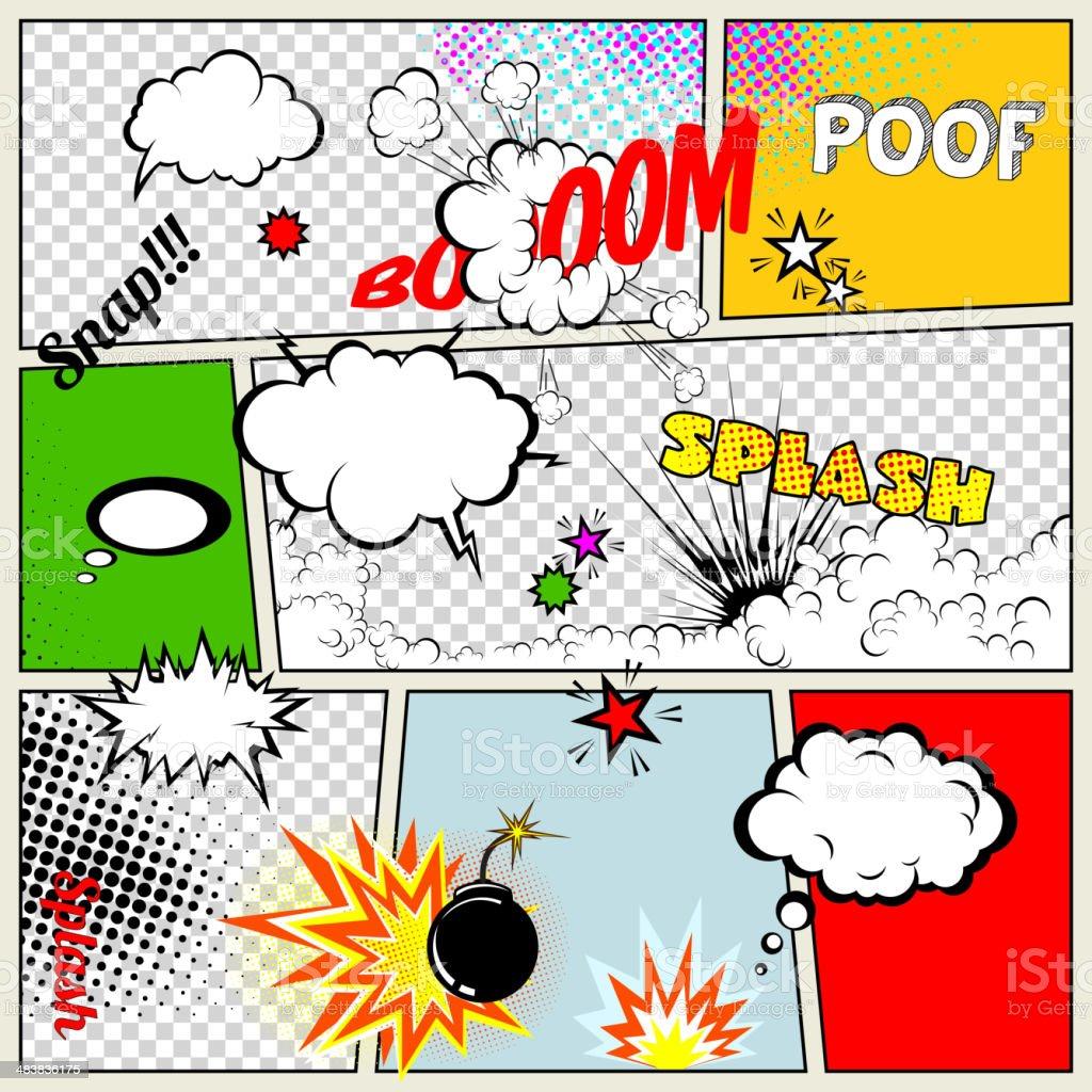 Grunge Retro Comic Speech Bubbles vector art illustration