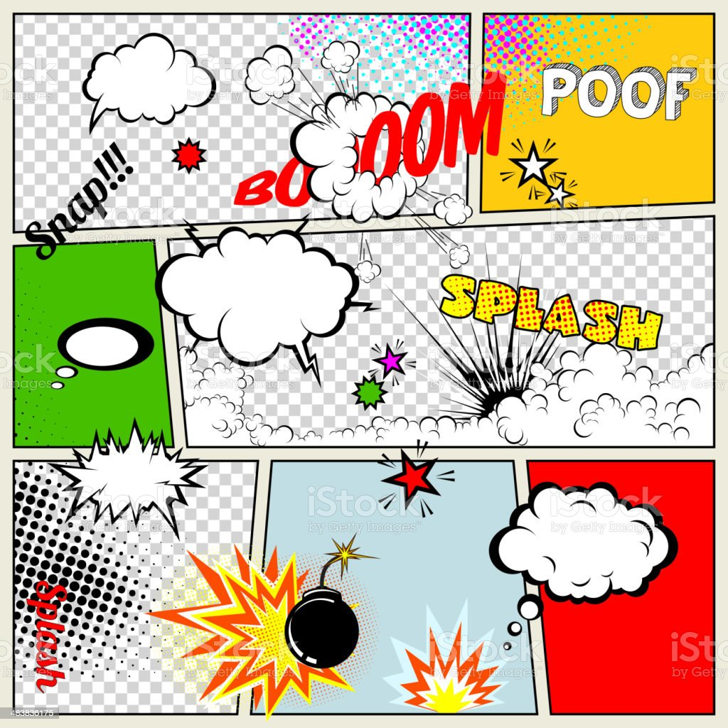 Grunge Retro Comic Speech Bubbles vector art illustration