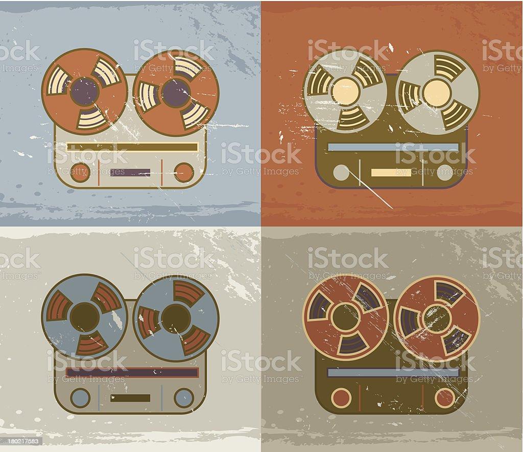 Grunge retro reel recorder icons royalty-free stock vector art