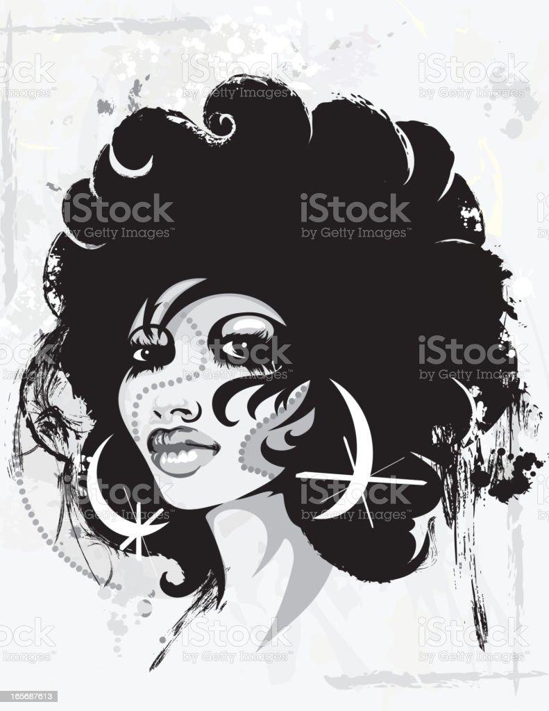 Grunge Retro Women vector art illustration