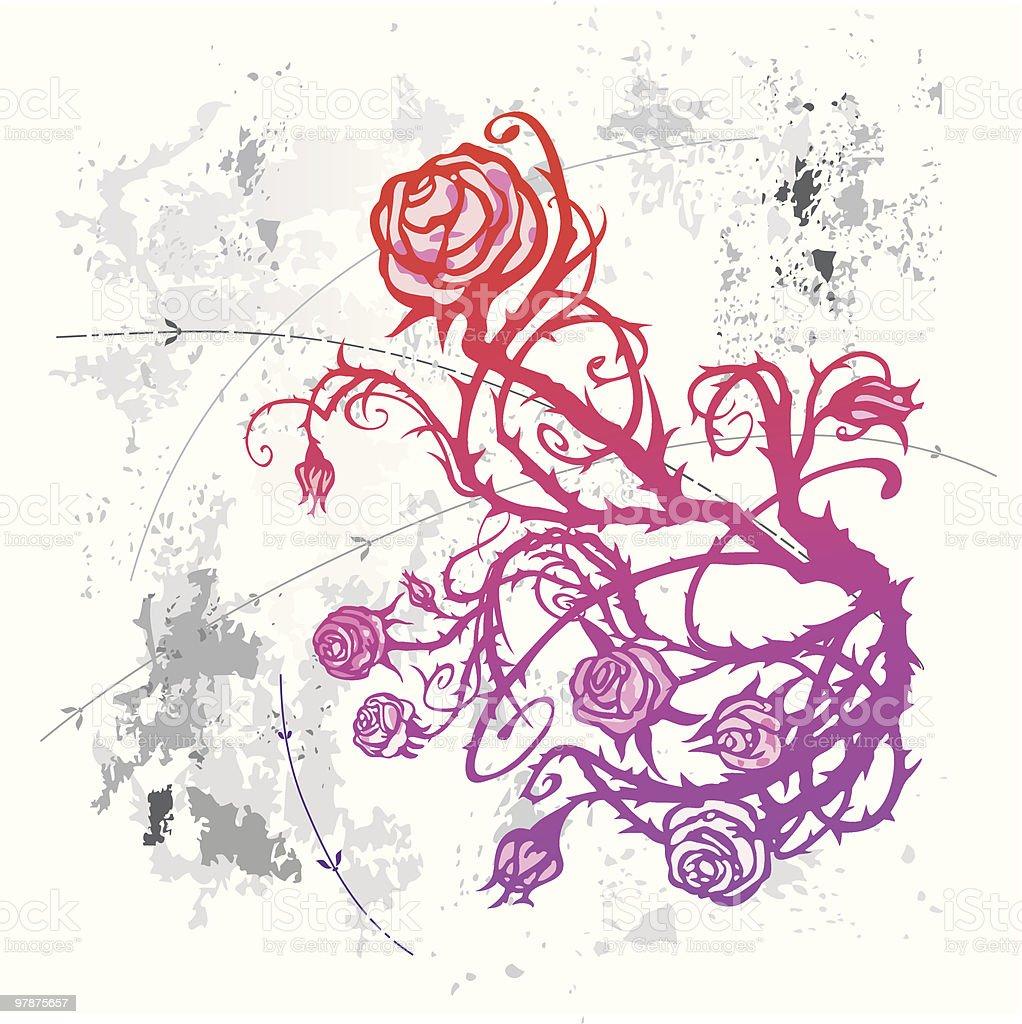 Grunge rose vector art illustration
