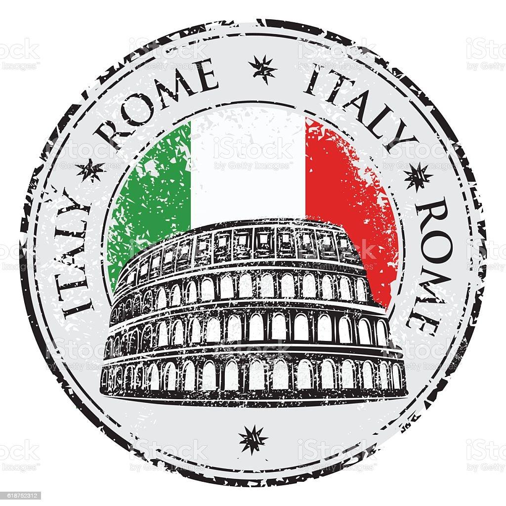 Grunge rubber stamp with Colosseum vector illustration vector art illustration
