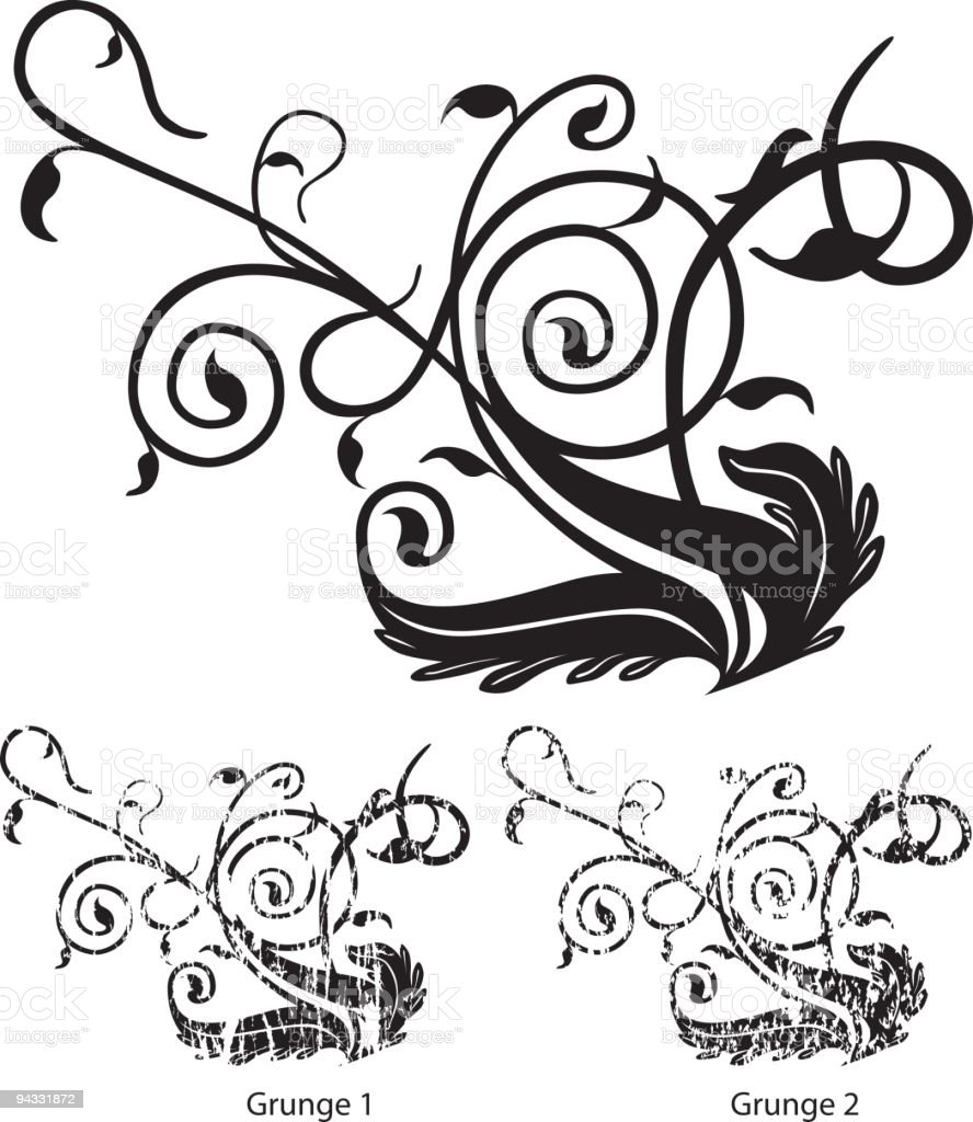 Grunge Scroll 14 vector art illustration