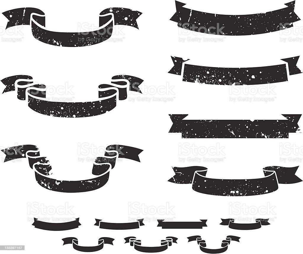 Grunge scrolls vector art illustration