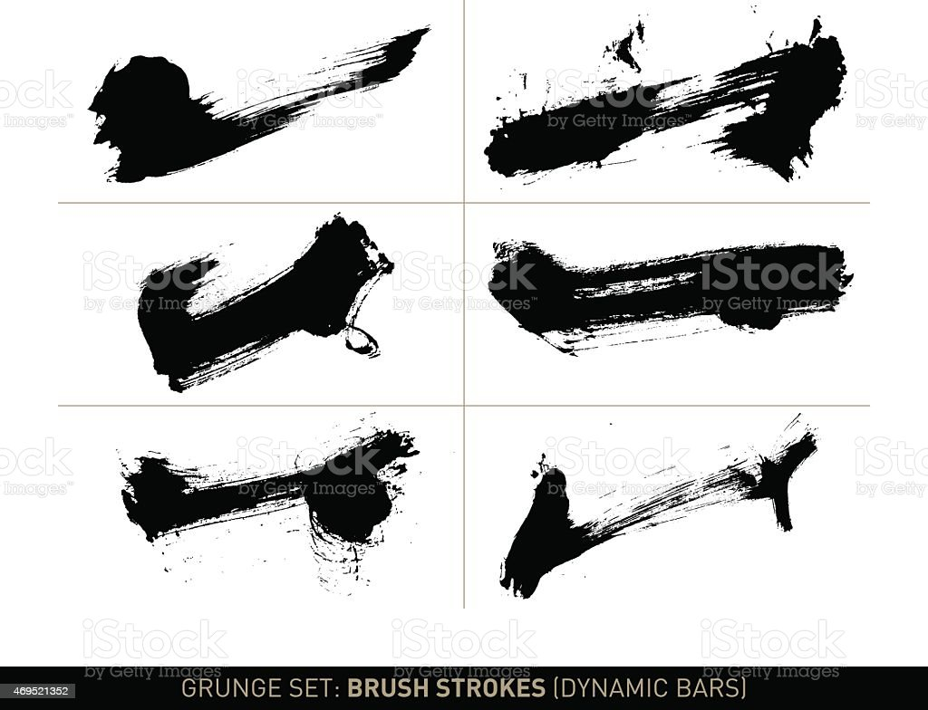 Grunge set: Brush strokes dynamic bars in b/w vector art illustration