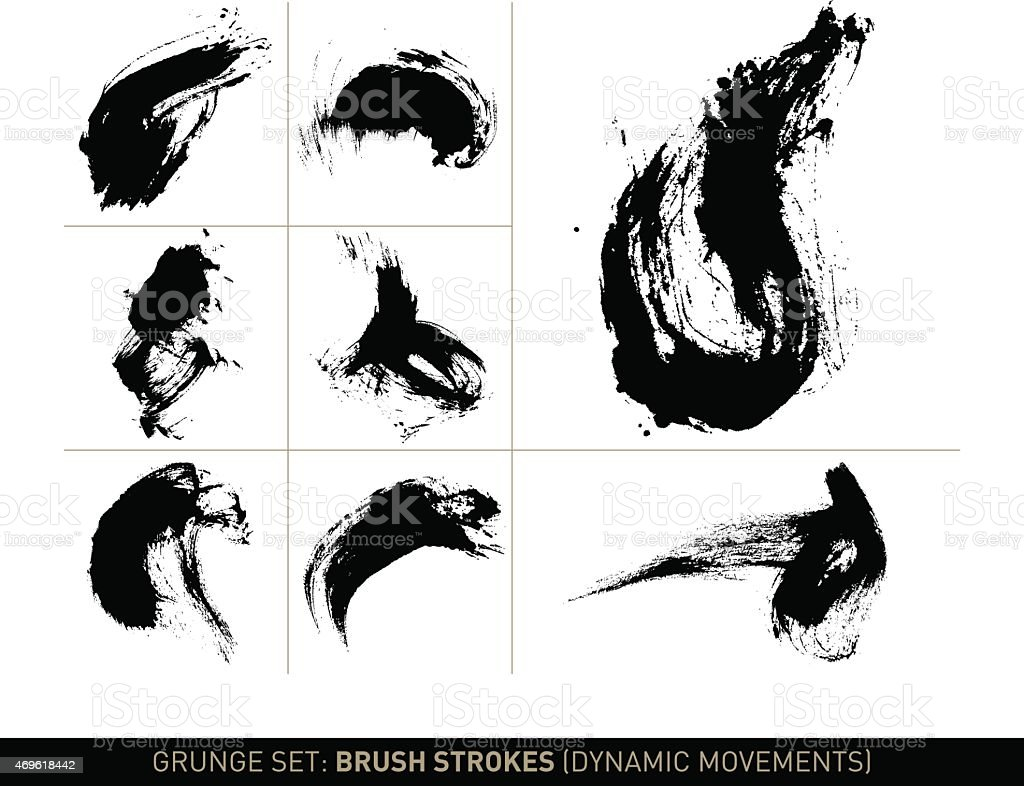 Brush strokes dynamic movements in b/w (Grunge set) vector art illustration