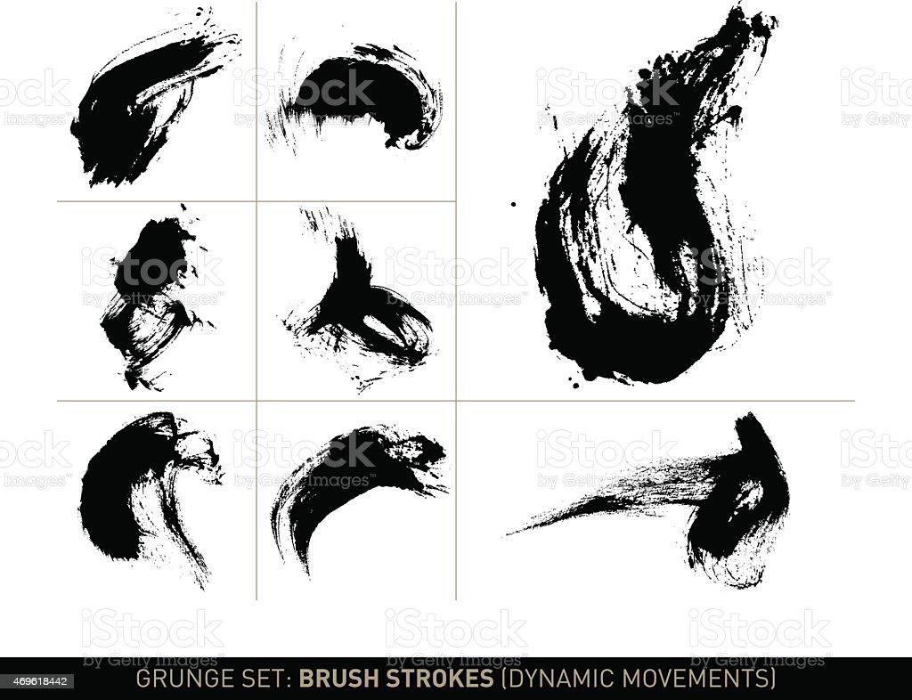 Grunge set: Brush strokes dynamic movements in b/w vector art illustration