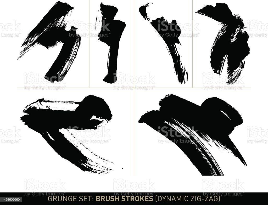 Grunge set: Brush strokes zig-zag in b/w vector art illustration