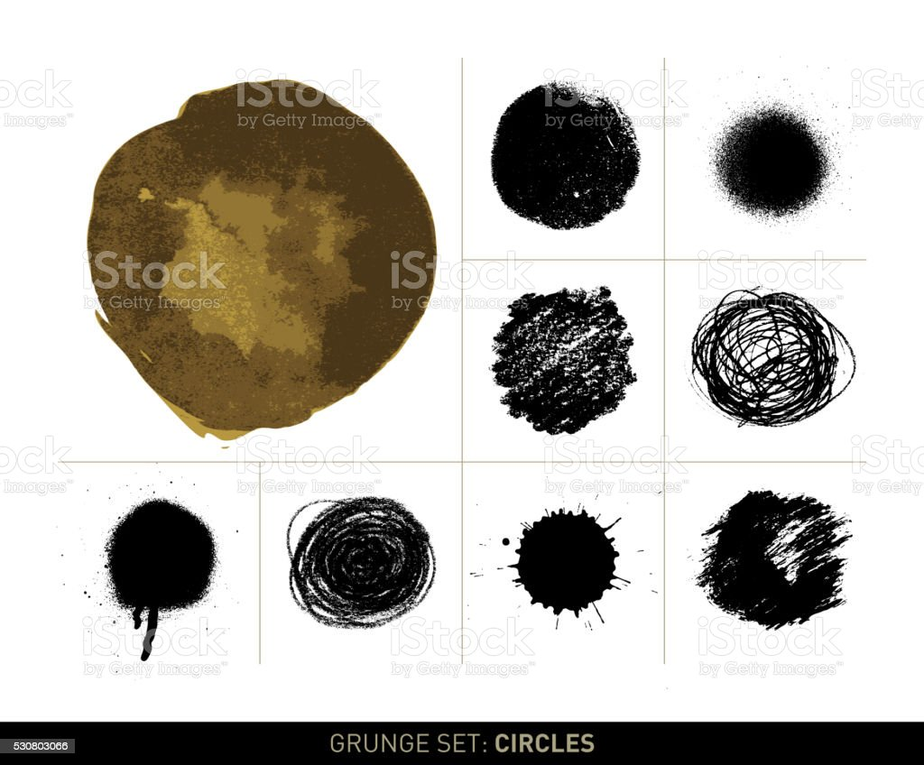 Grunge set: Circles (Filled) vector art illustration