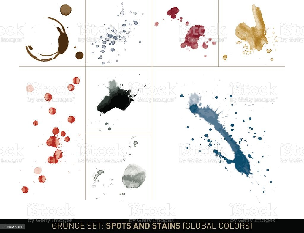 Grunge set: Dirt spots and stains in global colors vector art illustration
