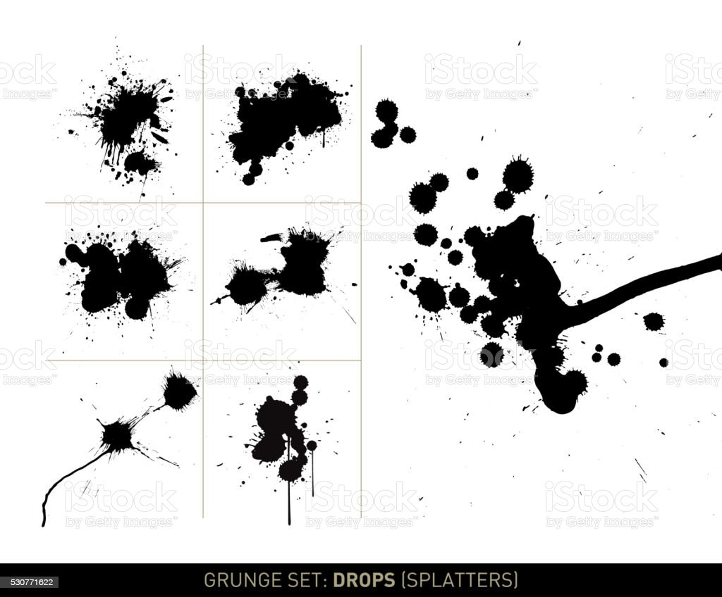 Grunge set: Drops (Splatter) vector art illustration