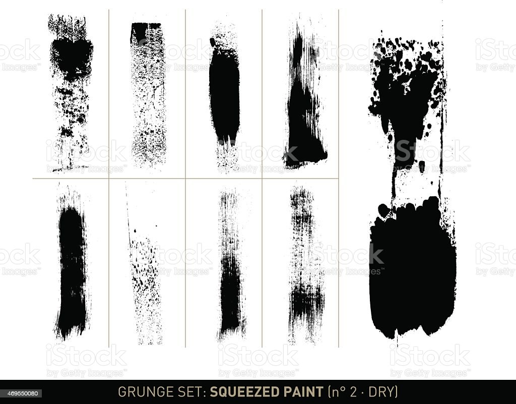 Grunge set: Dry squeezed paint in b/w vector art illustration
