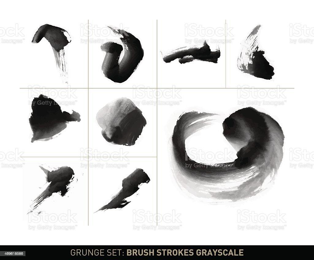 Grunge set: Dynamic brush stroke movements in grayscale vector art illustration
