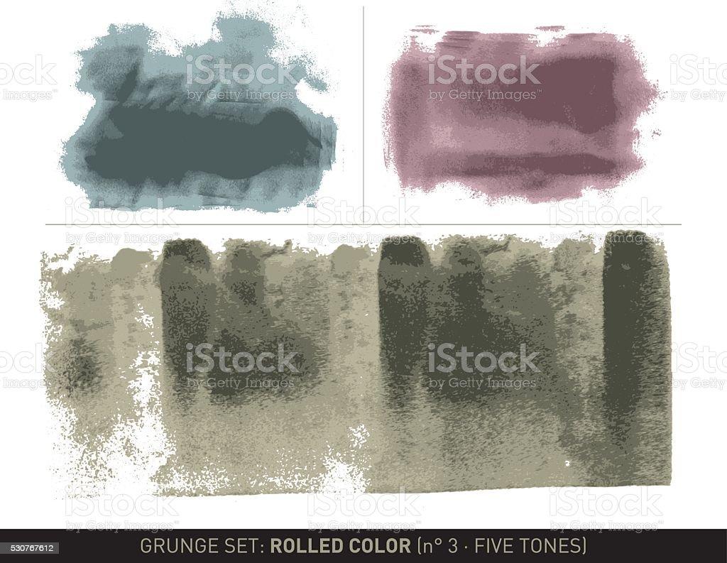 Grunge set: Rolled color n°3 (5 Tones) vector art illustration