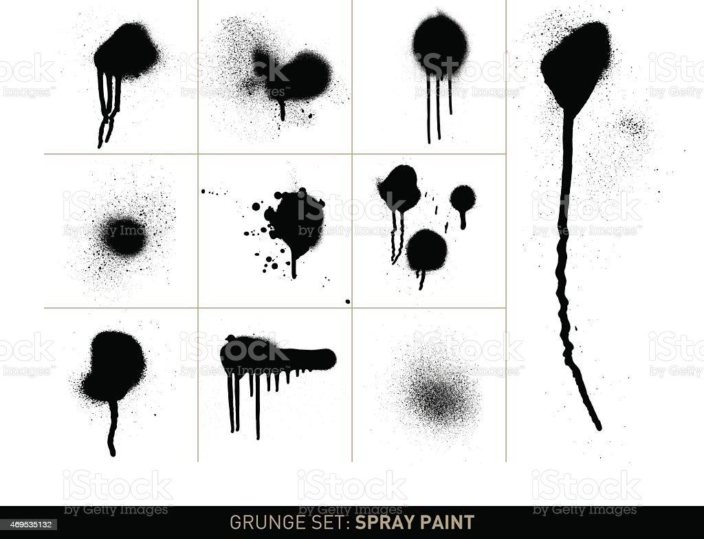 Grunge set: Spray paint in b/w vector art illustration