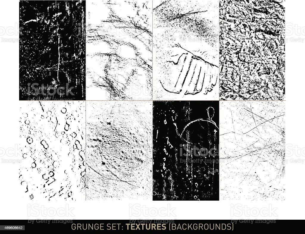 Grunge set: Textures and backgrounds in b/w vector art illustration